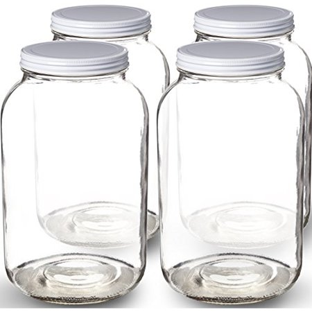 Wide Mouth 1 Gallon Clear Glass Jar + Metal Lid With Airtight Liner (Glass Metal Seal)
