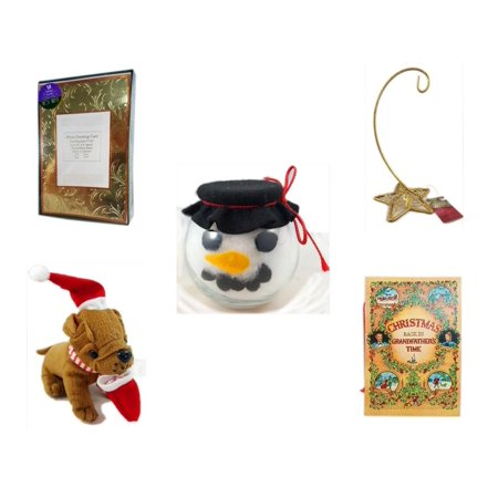 Christmas Fun Gift Bundle [5 Piece] -  Time Photo Cards W/ Envelopes 18 Count - Gold Glitter Star Base Ornament Hanger - Anchor Hocking Glass Snowman Head Bowl -  Santa Bulldog  5