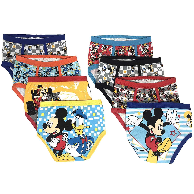 Disney Mickey Mouse Boys Underwear - 8-Pack Toddler/Little Kid/Big Kid Size Briefs Kids Roadster