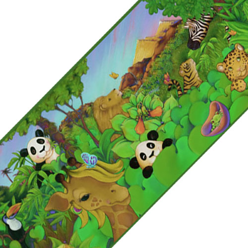 York Wallcoverings 12440134 Cartoon Jungle Animals Prepasted Wallpaper Border Roll
