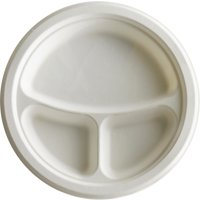 Eco-Products 3-Compartment Sugarcane Fiber Plates, White, 500 / Carton (Quantity)