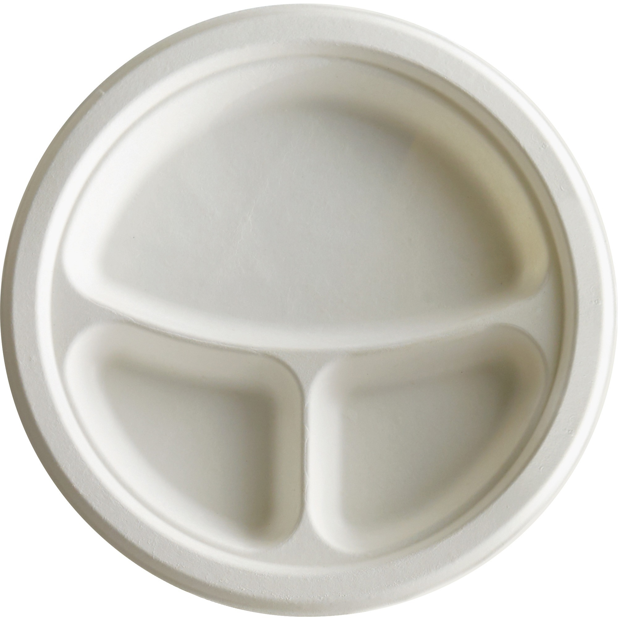 Eco-Products, ECOEPP007, 3-Compartment Sugarcane Fiber Plates, 500 / Carton, White