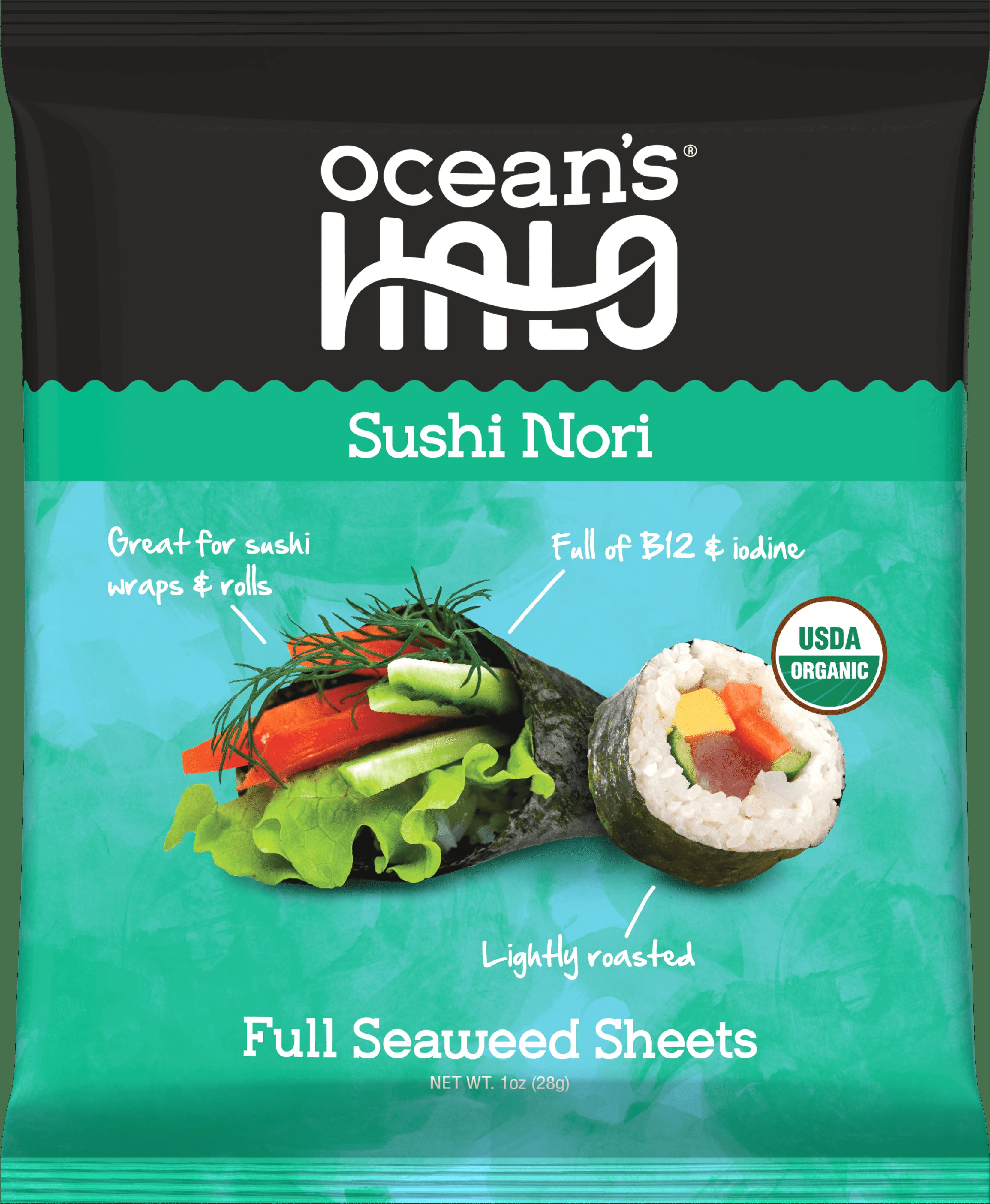 Ocean S Halo Organic Sushi Nori 12 Pack 120 Sheets Total Walmart Com Walmart Com