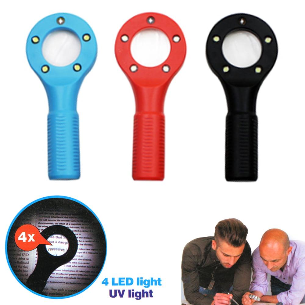 2PCS LED UV Light Handheld Magnifier Reading Glass Lens Jewelry Pocket Eye Loupe