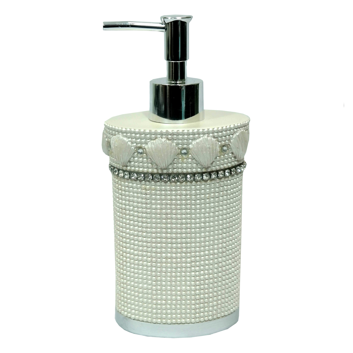 Popular Bath Shells & Diamonds Bathroom Lotion/Soap Dispenser- Beige