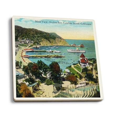 Santa Catalina Island, California - Panoramic View of Avalon and Bay (Set of 4 Ceramic Coasters - Cork-backed, Absorbent)