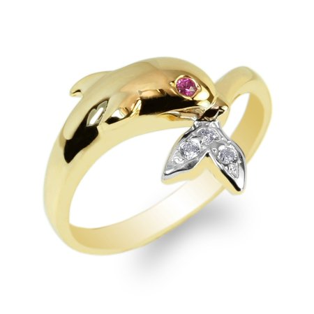 Ladies Yellow Gold Plated Whale Catching Tails Ruby Eyed CZ Fancy Ring Size 4-10
