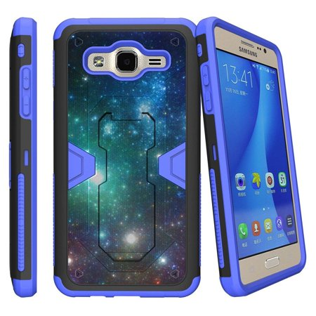 Samsung Galaxy On5 Blue Silicone Hybrid Case [Max Defense] Case w/ Holster + Kickstand - Galaxy Specs ()