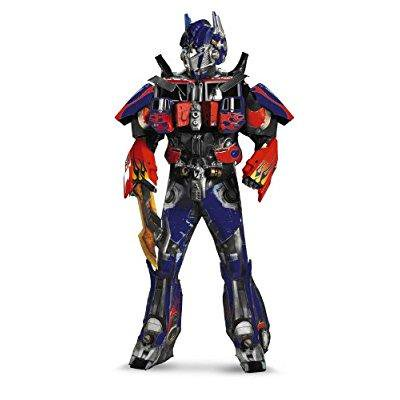 disguise men's hasbro transformers age of extinction movie optimus prime theatrical with vacuform plus 3d costume, blue/red, (50's To 80's Costumes)