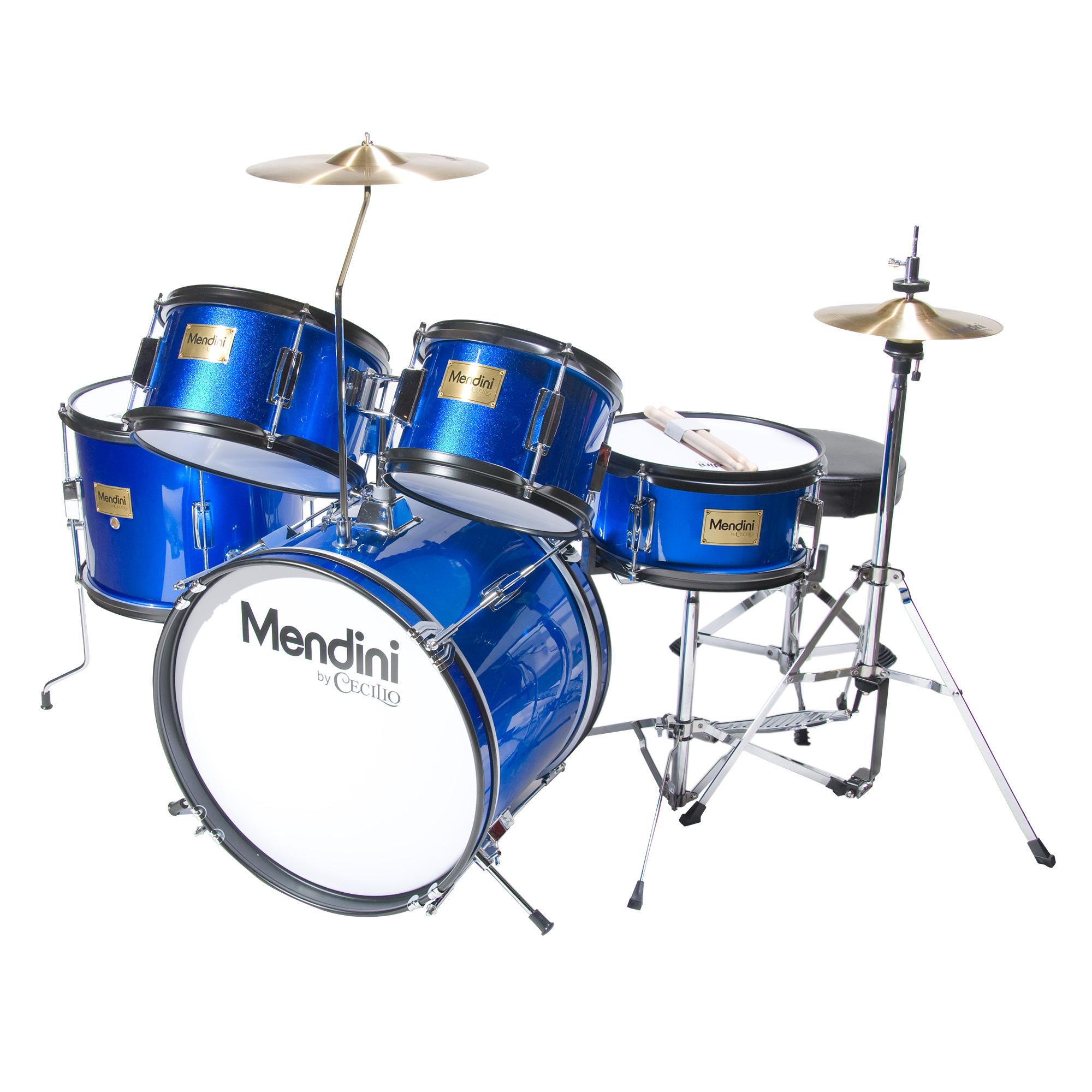 "Mendini by Cecilio 16"" 5-Piece Complete Kids / Junior Drum Set with Adjustable Throne, Cymbal, Pedal & Drumsticks, Metallic Blue, MJDS-5-BL"
