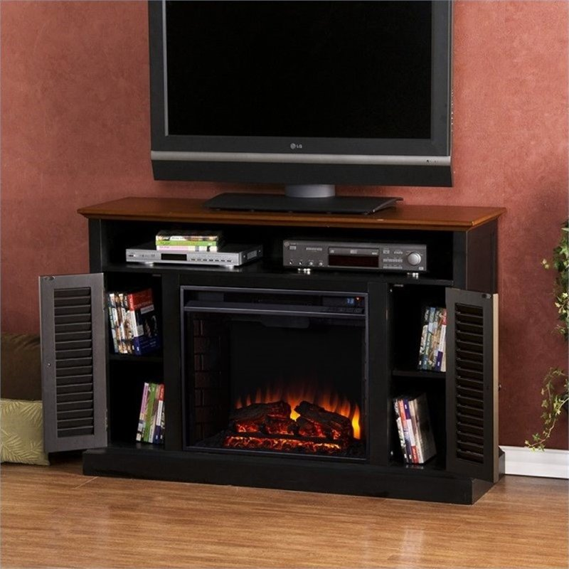 Pemberly Row Media Electric Fireplace in Black and Walnut