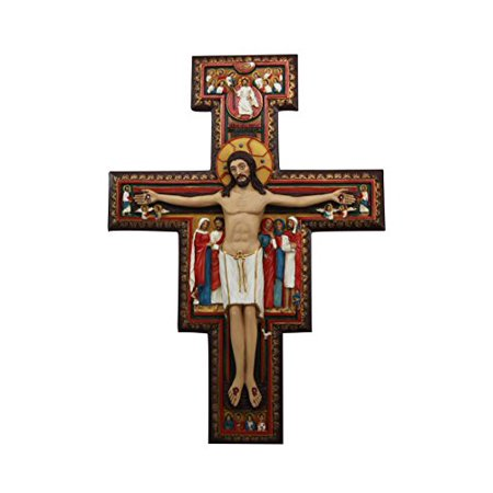 Saint Francis of Assisi Romanesque San Damiano Crucifix Decorative Wall Plaque Cross