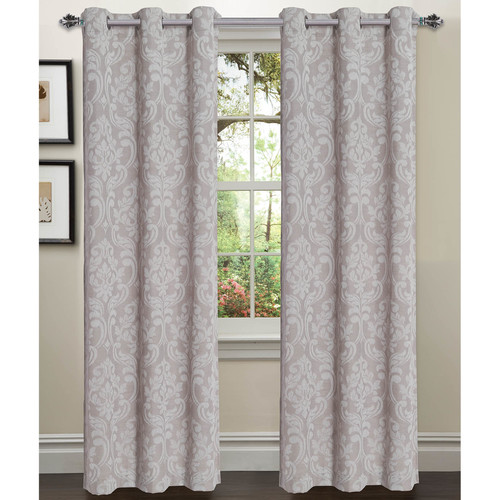 Elinor Linen Blend Jacquard Grommet Curtain Panel Pairs