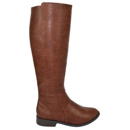 Kauri Tan Brown City Classified Women Flat Basic Riding Boots Side Zipper Knee High - 7 Side Zipper Boot