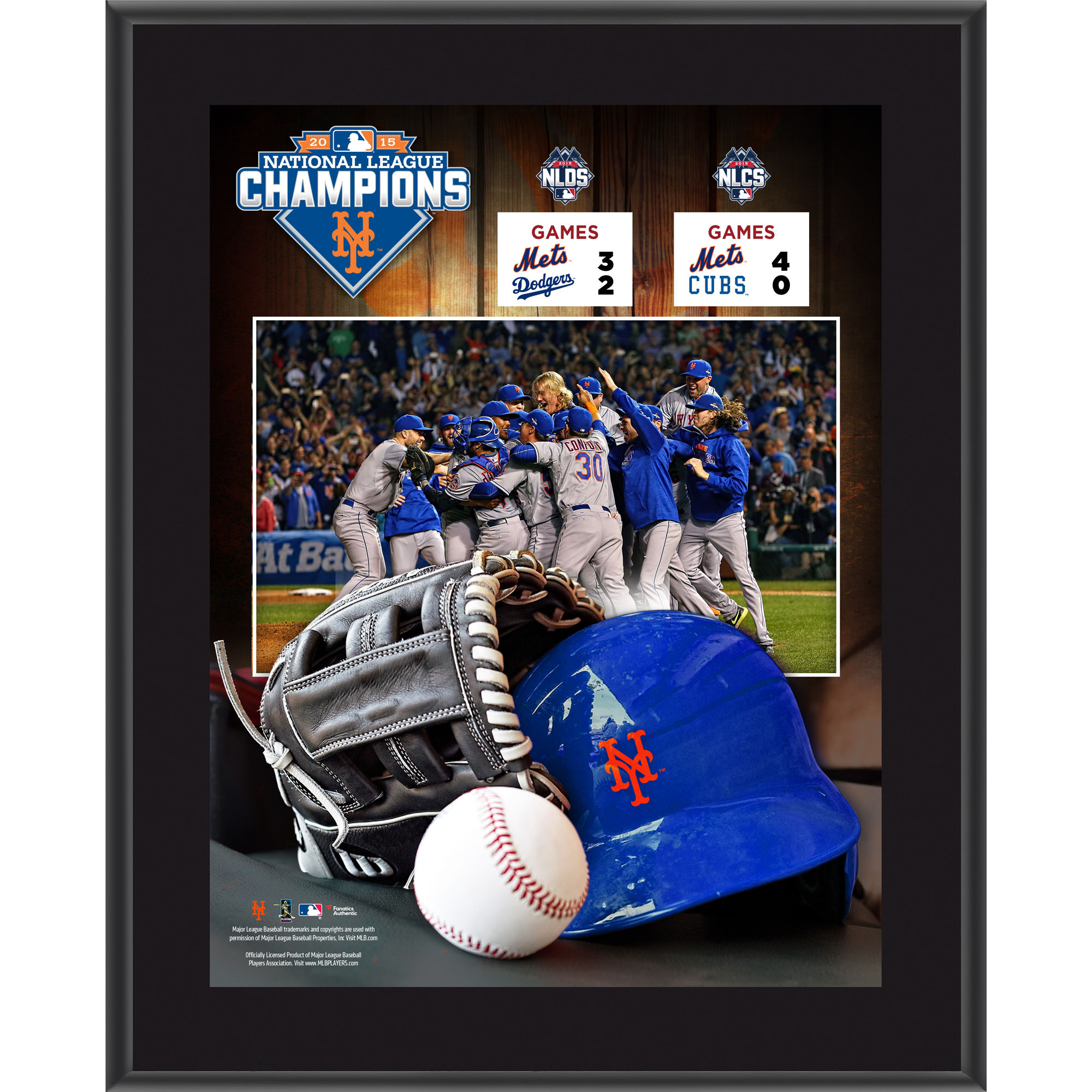 """New York Mets Fanatics Authentic 2015 MLB National League Champions 10.5"""" x 13"""" Sublimated Plaque - No Size"""