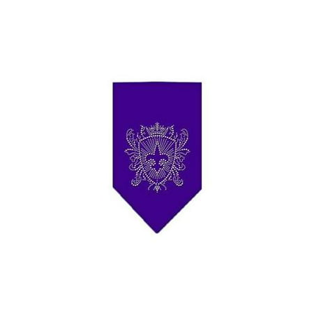 Fleur De Lis Shield Rhinestone Bandana Purple Small