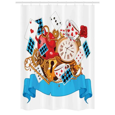 Alice In Wonderland Stall Shower Curtain Mad Design Of Cards Clocks Tea Pots Keys Flowers