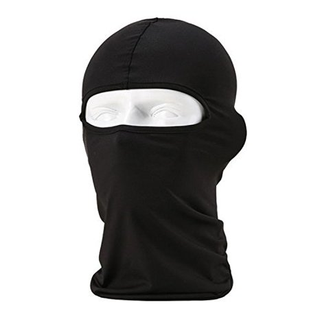 Motorcycle Cycling Sport lycra Balaclava Full Face Mask For Sun UV Protection (Black)