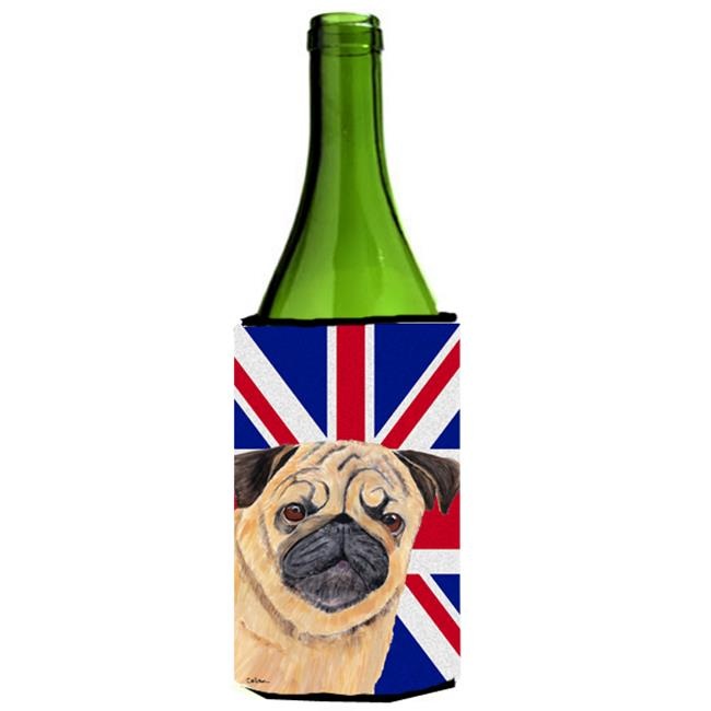 Carolines Treasures SC9828LITERK Pug With English Union Jack British Flag Wine bottle sleeve Hugger - 24 Oz. - image 1 of 1