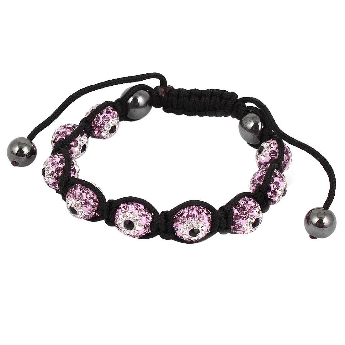 Unique Bargains Pink Rhinestone Detail Ball Linked Rope Knotted Adjustable Bracelet for Lady