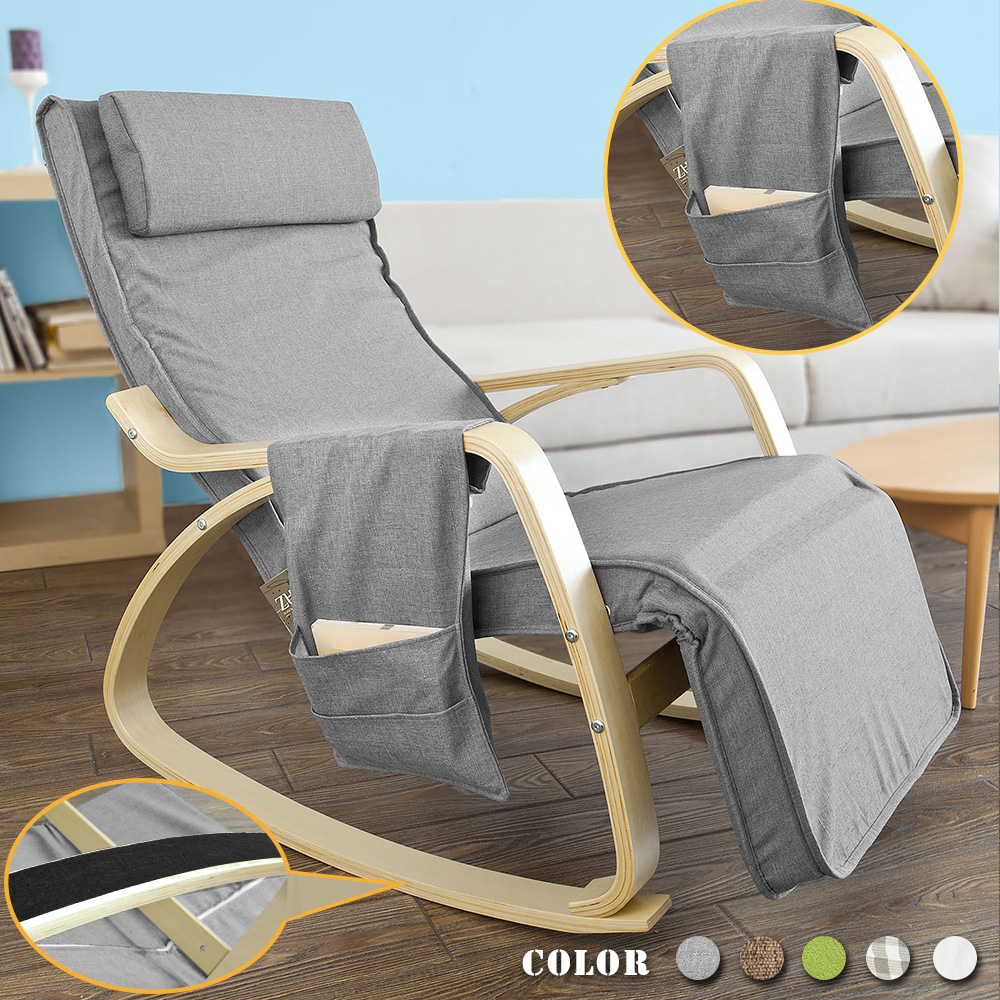 SoBuy FST18-DG, Comfortable Relax Rocking Chair, Gliders,Lounge Chair Recliners with Adjustable Footrest & Side Pocket ,grey