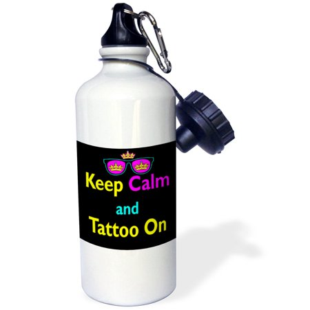 3dRose CMYK Keep Calm Parody Hipster Crown And Sunglasses Keep Calm And Tattoo On, Sports Water Bottle, 21oz (Camping Tattoos)