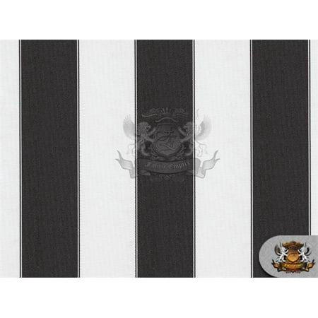 Indoor/Outdoor Waterproof Bordered Deck Stripe BLACK WHITE Fabric / 60