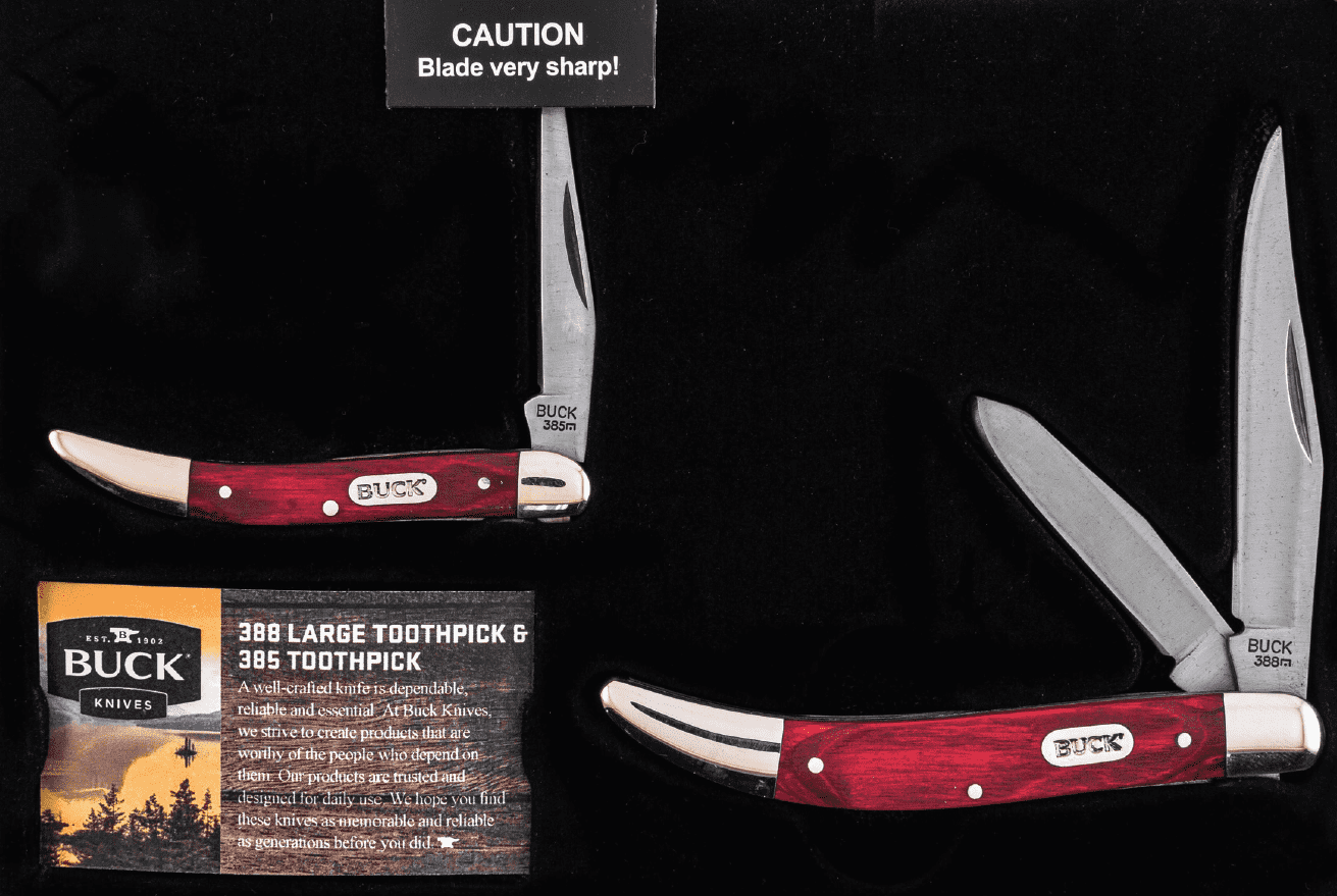 Buck Knives CMBO159WM 388 Large Toothpick and 385 Toothpick Wood Handles Decorative Tin
