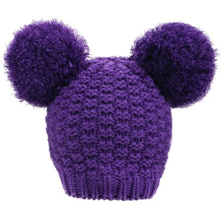 Women's Cute Knit Fuzzy Pompom Winter Beanie Hat, Purple - Fuzzy Panda Hat