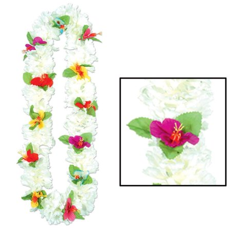 Carnation Lei white petals w/multi-color flowers (Qty of 12) - Leis Flowers