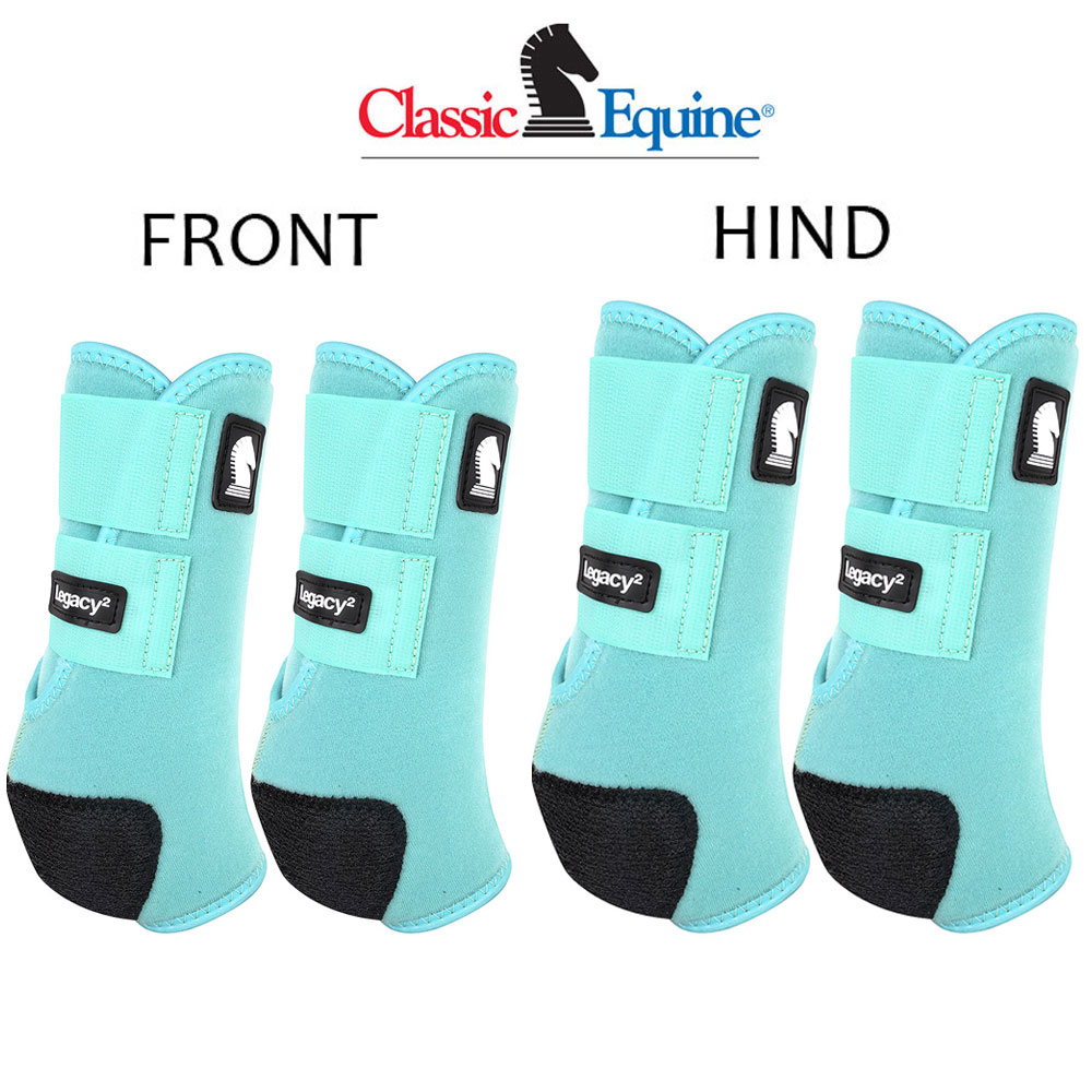 MEDIUM CLASSIC EQUINE LEGACY2 HORSE FRONT HIND SPORTS BOOTS 4 PACK LIME GREEN