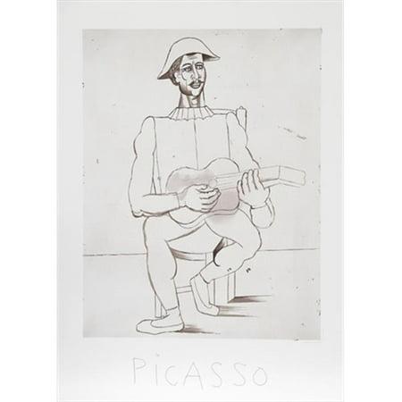 Pablo Picasso 14556 Arlequin Moustachu A La Guitare  44  Lithograph On Paper 29 In  X 22 In    Black  44  White