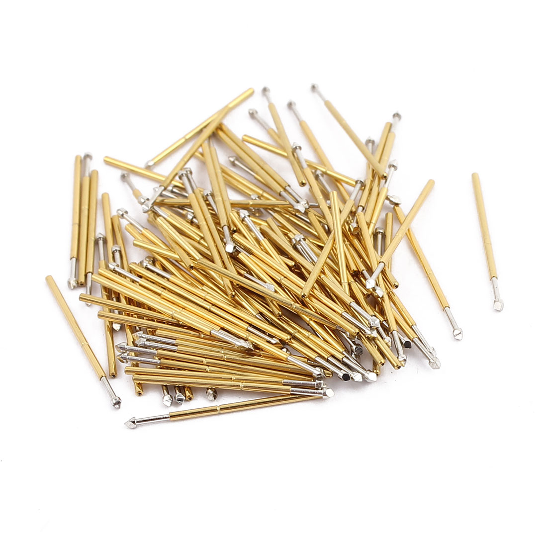 100pcs P50-T2 0.68mm Dia 16.5mm Length Metal Spring Pressure Test Probe Needle