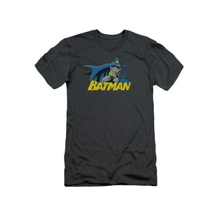 Batman DC Comics 8 Bit Cape Adult Slim T-Shirt Tee (Batman Adult Cape)