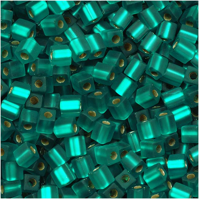 Miyuki 4mm Glass Cube Beads Transparent Matte Silver Lined Teal #2425F 10 Grams