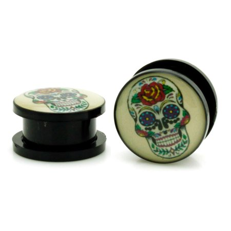 Acrylic Tunnel Day of the Dead Sugar Skull Ear Expander Plugs Body Jewelry