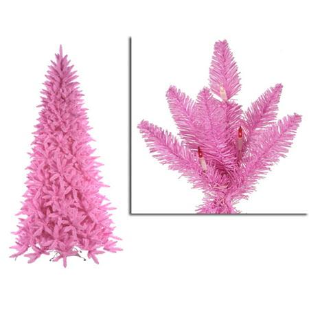 12 Pre Lit Slim Pink Ashley Spruce Christmas Tree Clear Pink Lights