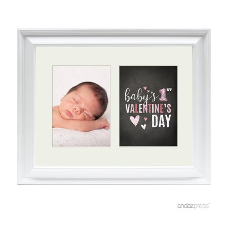 First Valentine's Day Double White 5 x 7-Inch Photo Frame Baby Wall Art (Valentines Day Frames)