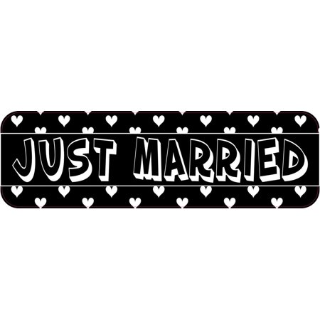 10X3 Hearts Just Married Bumper Sticker Vinyl Decal Car Window Truck Door Sign - Just Married Car Decorating Kit