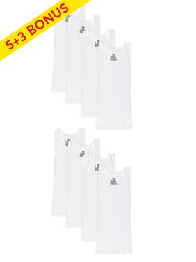 Hanes Boys Undershirts, 5 + 3 Bonus Pack Tagless EcoSmart White Tank Undershirts (Little Boys & Big Boys)