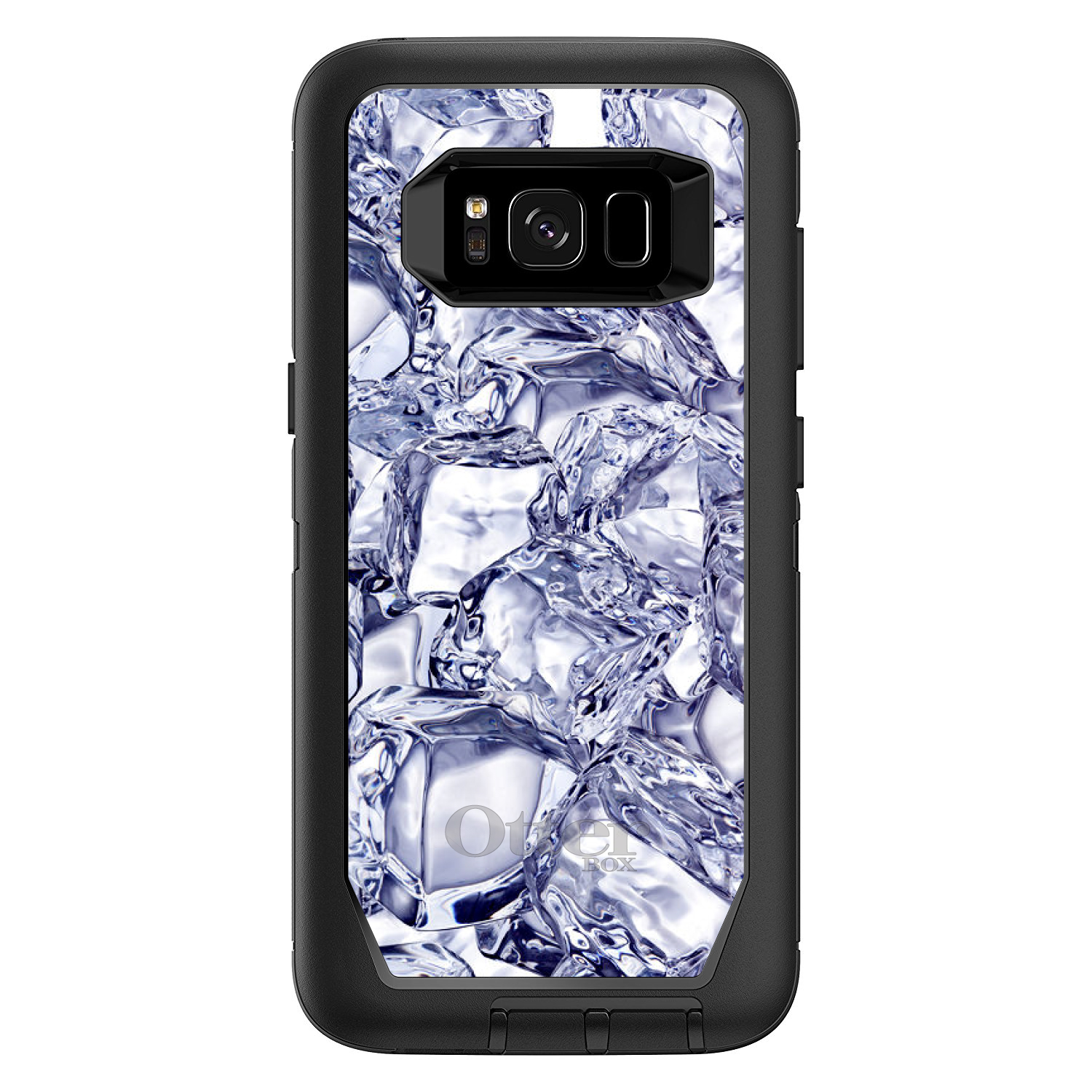 "DistinctInk™ Custom Black OtterBox Defender Series Case for Samsung Galaxy S8 (5.8"" Screen) - Crystal Clear Ice"