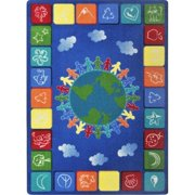 Joy Carpets 1745C-02 Kid Essentials One World Geography & Environment Rectangle Rugs, Primary - 5 ft. 4 in. x 7 ft. 8 in.