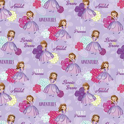"""Disney-Sofia The First 43/44"""" 100% Cotton 15yd D/R-Sofia Hero Princess"""