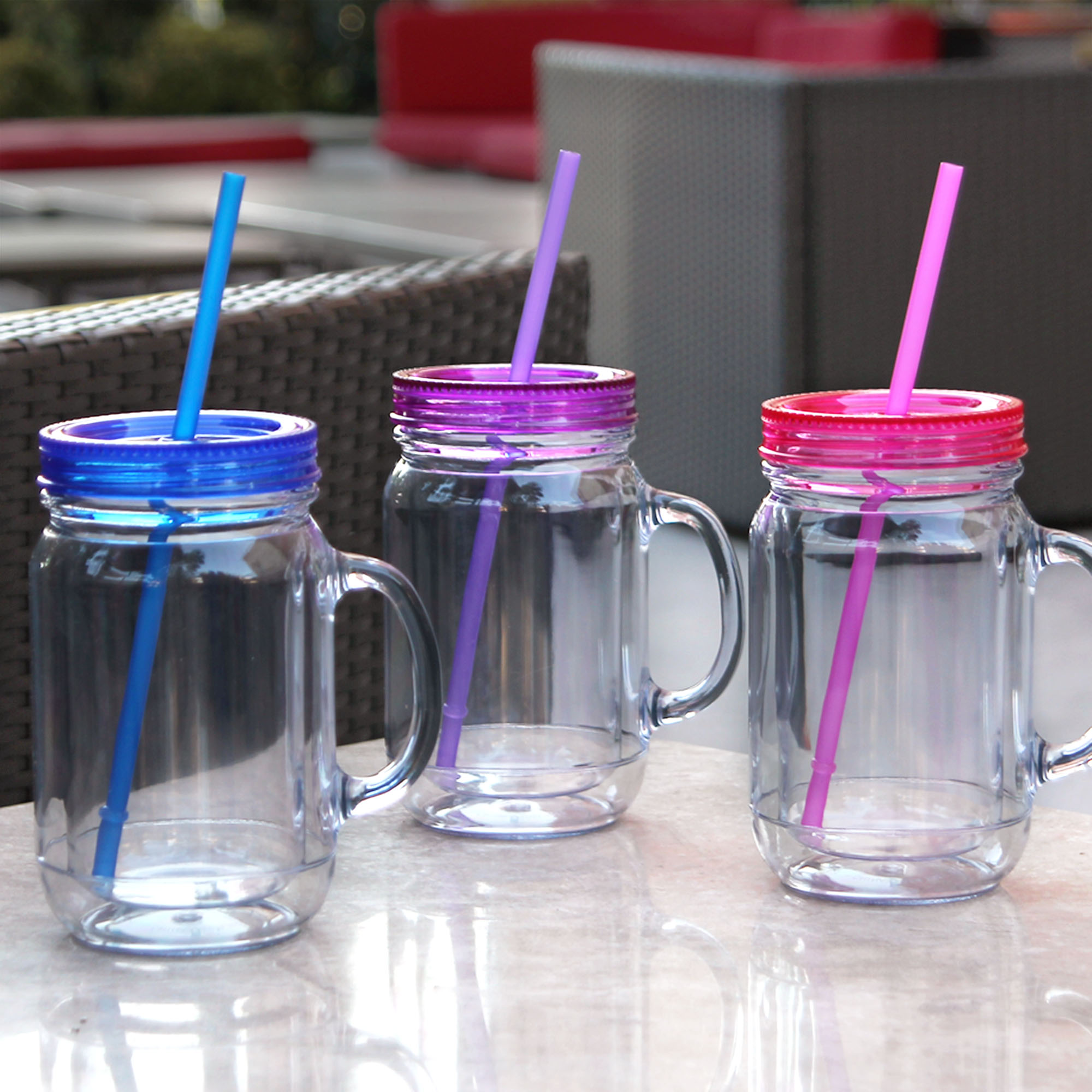 Cupture Double Wall Insulated Plastic Mason Jar Tumbler Mug - 16 oz, 3 Pack