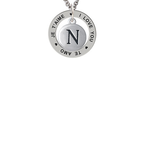 Capital Letter - N - Pebble Disc - I Love You Je T'aime Te Amo Affirmation Ring Necklace