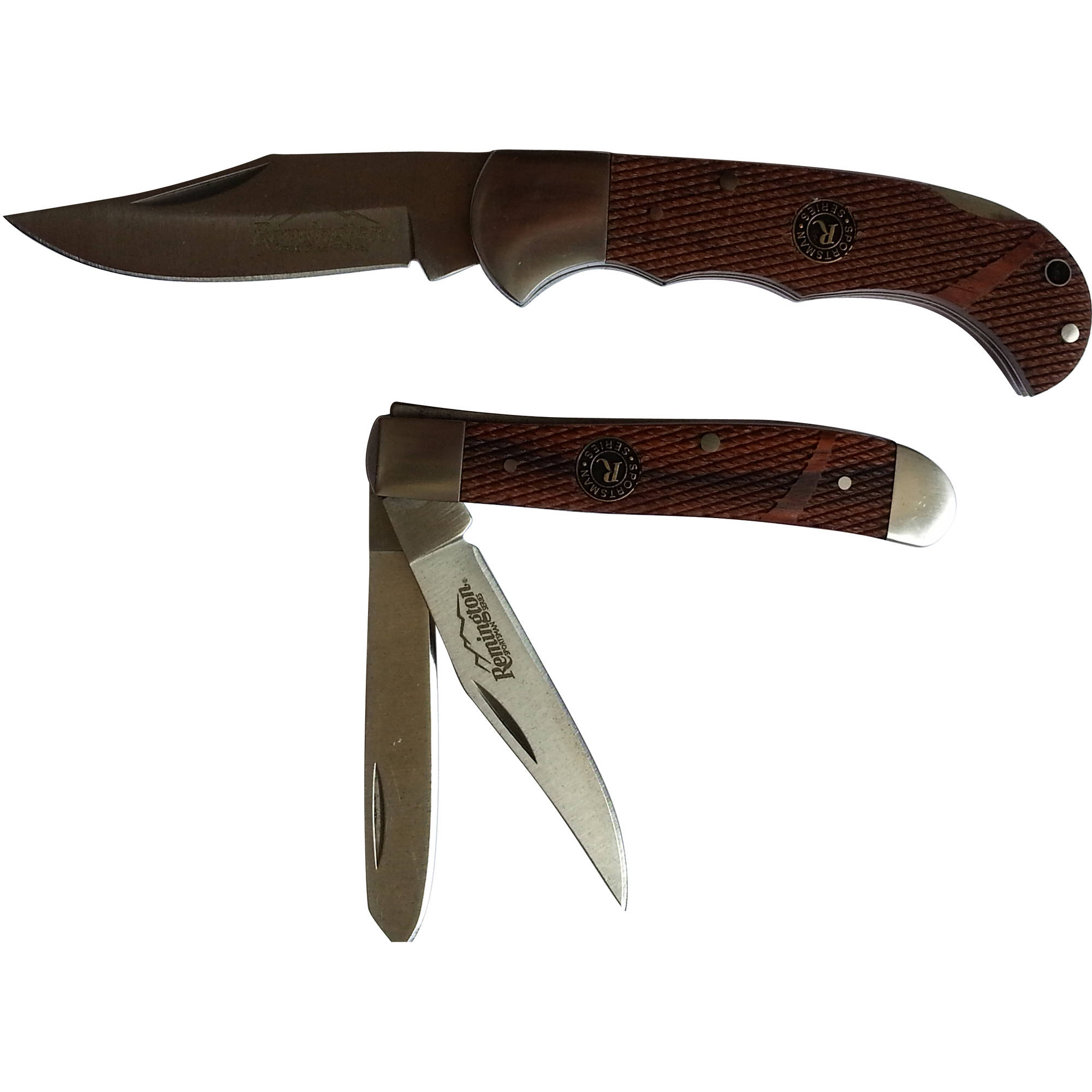 Remington Trapper & Mid Size Folder Twin Knife Combo Pack, Checkered Rosewood Handle with Wild Turkey Collector Tin