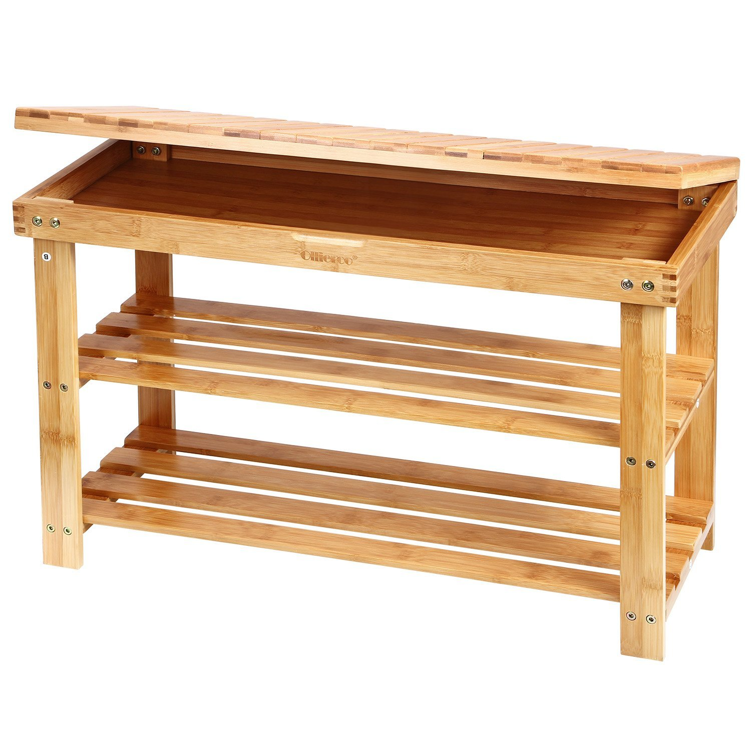 Ollieroo 2 Tier Entryway Natural Bamboo Shoe Rack Household Shelf Storage Bench Organizer Foot Stool with Storage Drawer