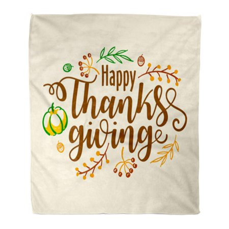 ASHLEIGH Throw Blanket Warm Cozy Print Flannel Happy Thanksgiving Celebration Text Pumpkin Berries and Leaves Badge Lettering Comfortable Soft for Bed Sofa and Couch 58x80 Inches