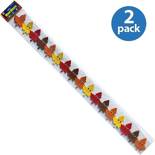 (2 Pack) Hygloss, HYX33644, Happy Leaves Border Strips, 12 / Pack, Yellow,Orange,Red,Brown