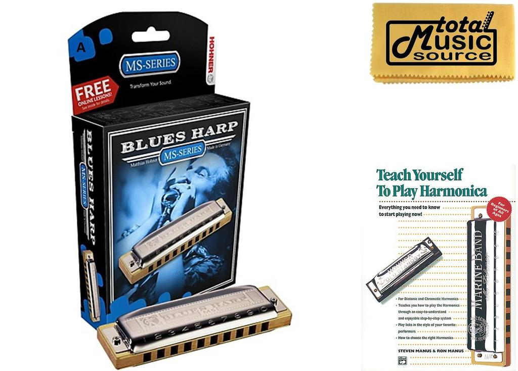 HOHNER Blues Harp MS Harmonica Key A, Made in Germany, Case & Book, 532BL-A BK by Hohner